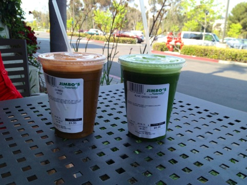 "Christina:  The organic carrot-based combo (left)  is packed with apples, cucumber and spinach. Greg:The celery-based ""Emerald Bliss"" (right) is chock-full of apples, spinach, kale, parsley and ginger."