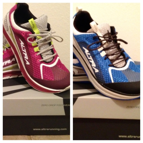 Left: C's new kicks. Is a PR in her future? Right: G's, which fit like a dream.
