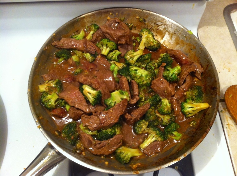I like to combine the beef/broccoli with the rice prior to serving so the rice can soak up the stir fry flavors.