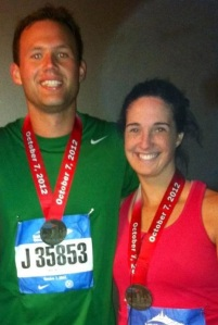 Looks of communication for our first marathon. The result? Those smiles.