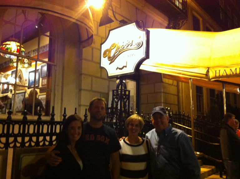 The whole crew outside of Cheers bar.
