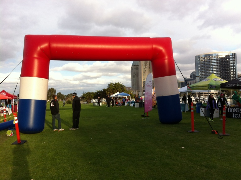 The start/finish line was located at Marina Park South behind the San Diego Convention Center.