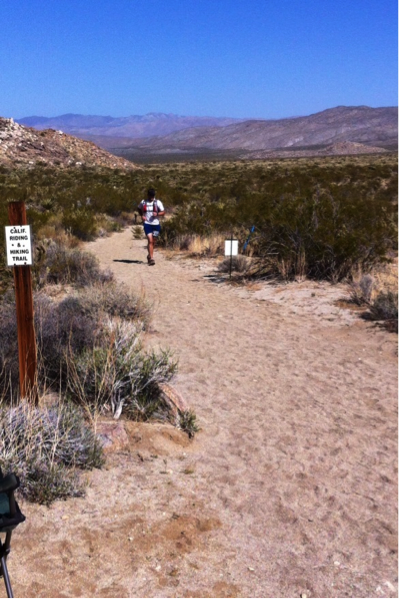 Coming into the aid station at mile 15