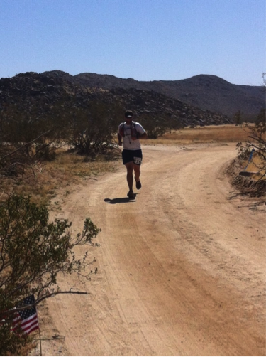 The oasis IS real! Coming into the aid station at mile 22
