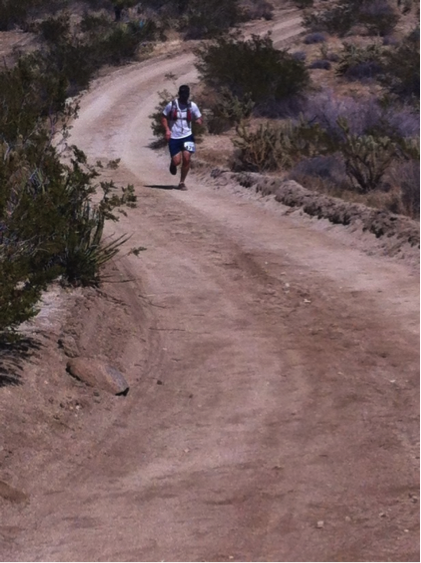 Heading into the aid station at mile 28