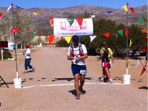 Crossing the finish in 7:44