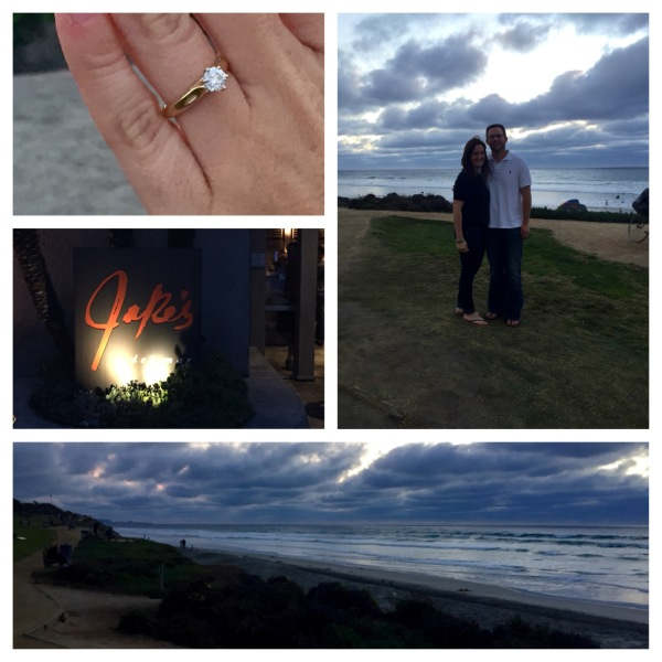Proposal at Del Mar Beach and dinner at Jake's!